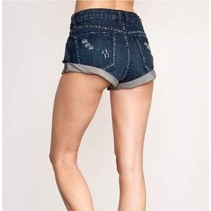 RVCA Kicka Denim Mini Shorts Destroyed Size 26